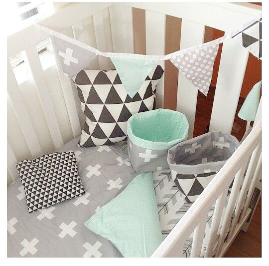 Bubbles Lane ~ crosses triangles dots || mint grey black white