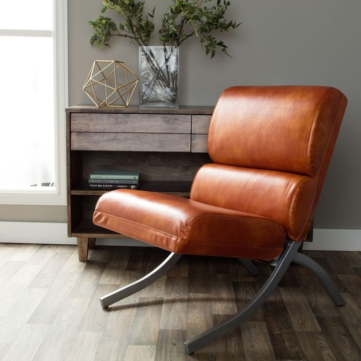 Details About Rust Orange Brown Leather Chair Armless