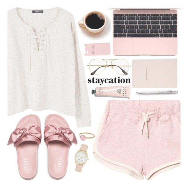 """Staycation 18-6-2017"" by anamarija00 ❤ liked on Polyvore featuring MANGO, Ray-Ban, Kate Spade, Bobbi Brown Cosmetics, Caran d'Ache, Charlotte Russe, Puma, Nine West, Pernille Corydon and Summer"