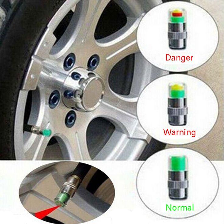 4 Unids/set Universal Visiable 32 Psi 2.2 Bar Aire de Advertencia de Alerta Monitor Del Sensor de Presión de Válvula del neumático Cap Indicador de Luz Para Auto coche