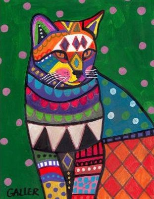 50 Off Today Cat Art FOLK ART CAT print von HeatherGallerArt