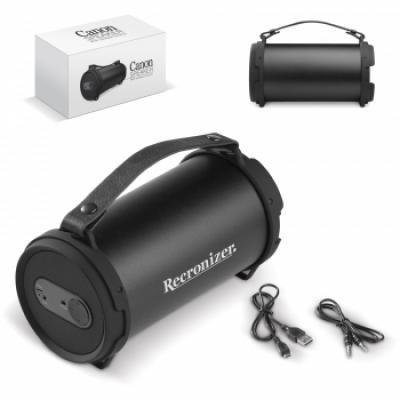 Image of Branded Canon Shaped Wireless Speaker. Printed Bluetooth Speakert