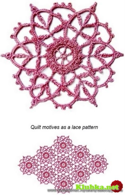 Quilt motifs as a lace pattern. See free graph for pattern