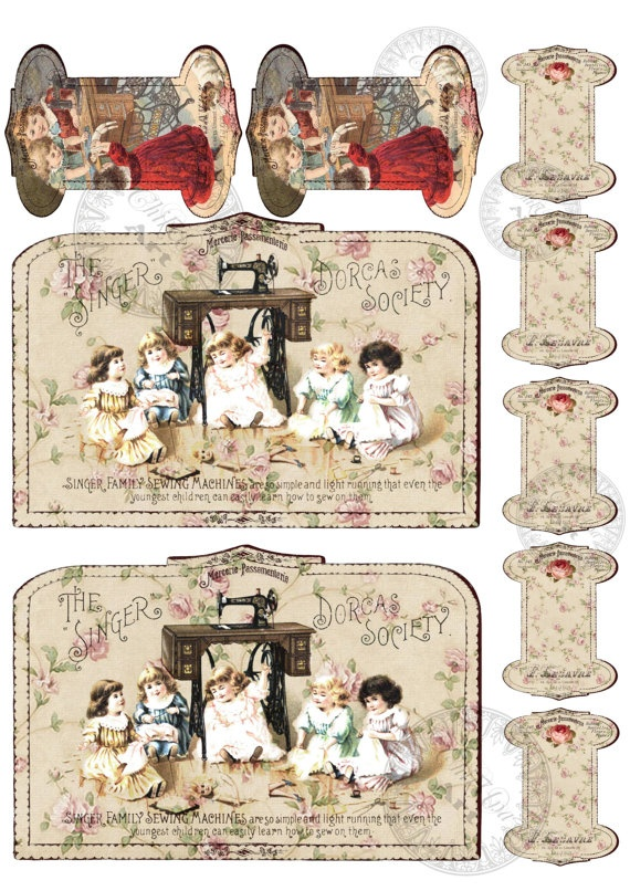 Instant Download - Printable Ribbon Spools Vintage - BABIEs SEW - Digital Image Sheet Download - DIY Print and Cut via Etsy. Make sure u just click on image & not purchace