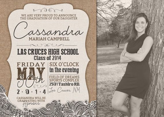 cute shabby chic burlap and lace photo graduation announcements burlap lace graduation - Graduation Invitations Pinterest