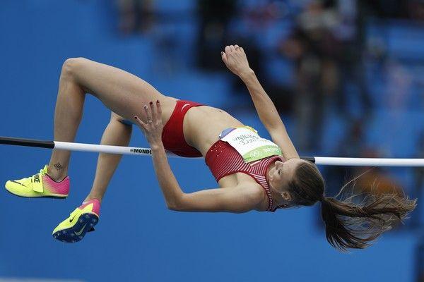 Latvia's Laura Ikauniece-Admidina competes in the Women's Heptathlon High Jump…