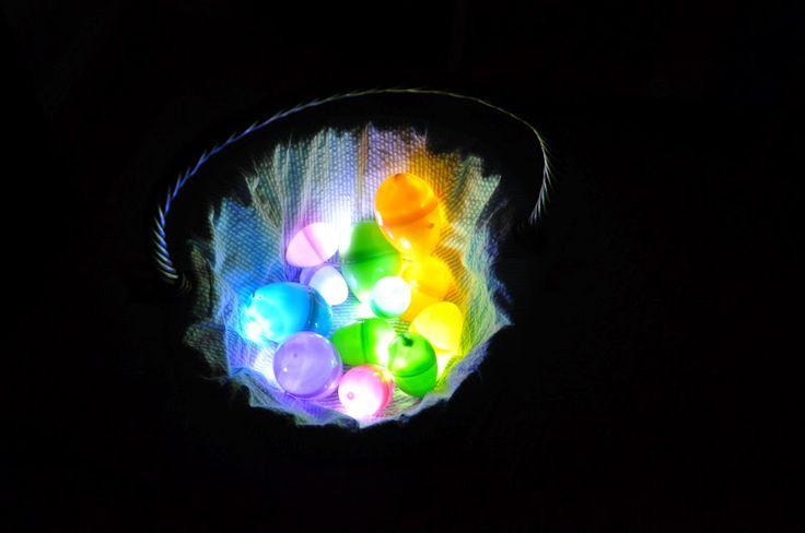 Glowing Easter Eggs: Small Lights, Plastic Eggs, Dark Easter, Dark Eggs, Easter Egg Hunt, Mom Llc, Illuminated Easter, Easter Eggs Hunt'S, Cool Ideas