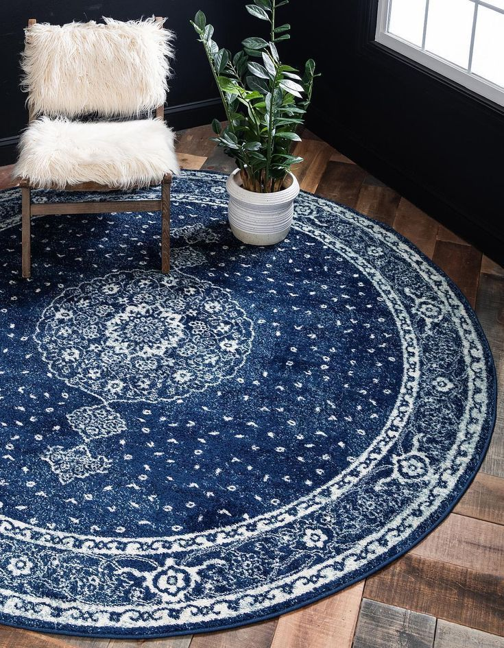 Navy Blue Unique Loom 8 X 8 Bexley Round Rug Area Rugs Rugs Com Rugs In Living Room Round Rug Living Room Rustic Living Room Furniture