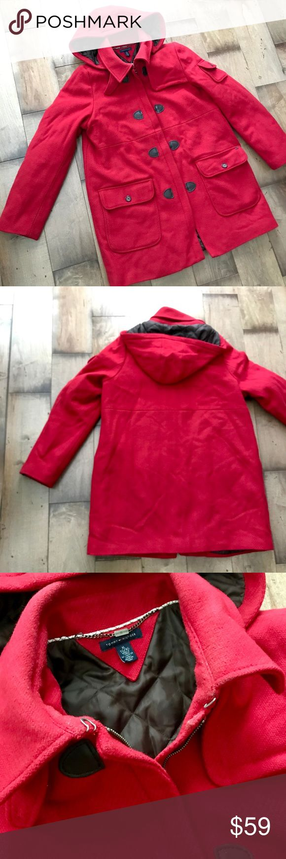Tommy Hilfiger Wool Coat Red Jacket Hooded XL Red jacket