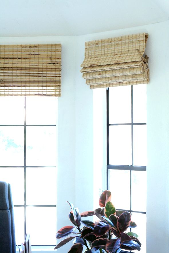Levolor lined bamboo blinds @ Lowe's installed on a window with no trim - slightly overlapping.