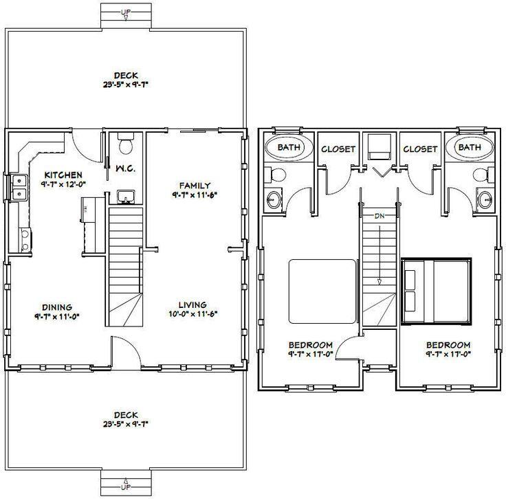 24x24 House -- 2 Bedroom 2.5 Bath -- PDF FloorPlan ...