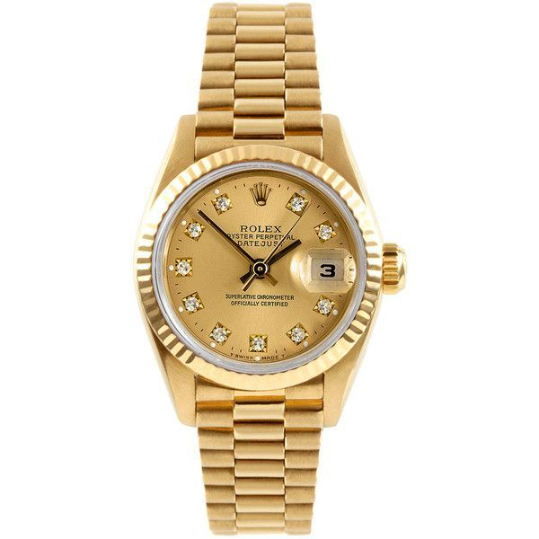 Rolex Women's Estate Rolex Datejust Gold & Diamond Watch, 26mm - Gold (22,435 PEN) ❤ liked on Polyvore featuring jewelry, watches, gold, mint watches, gold jewellery, gold diamond watches, gold watches and gold wrist watch