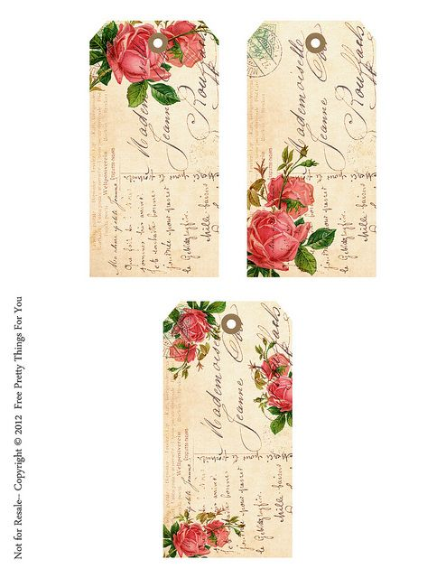 Shabby French Rose Tags