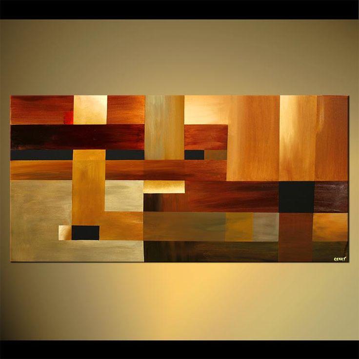 48 x 24 contemporáneo Original pintura abstracta por OsnatFineArt