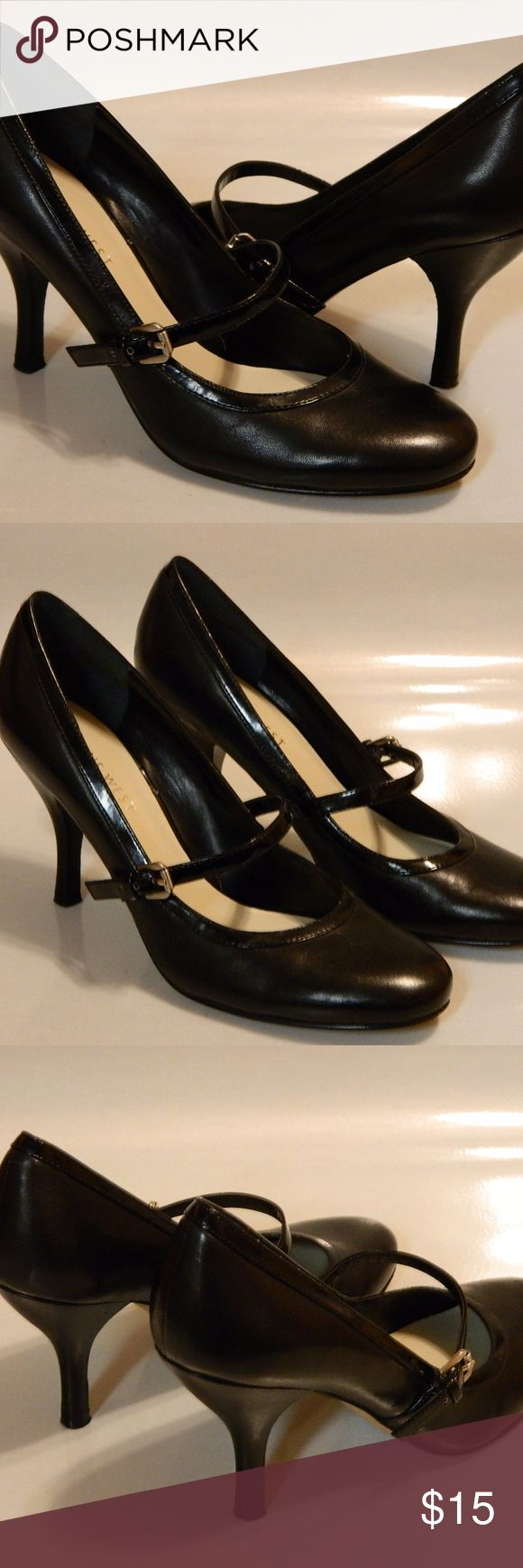 """NINE WEST Womens Shoes PUmps Leather Black Sz 5.5M NINE WEST Maydaya Women's Shoes Pumps Buckle LEATHER Black Sz 5 1/2 Med EUC Rare  ·        Brand: Nine West ·        Style: Maydaya ·        Color: Black ·        Material:  Leather ·        Pattern: Solid ·        Heel Type: Slim 3 1/4"""" ·        Size: 5 1/2 ·        Width: Medium ·        Country/Region of Manufacturer: --- ·        Condition: Excellent Used Condition (Some wear to bottom soles only.) Nine West Shoes Heels"""
