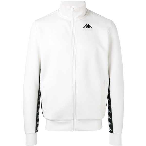Gosha Rubchinskiy x Kappa print track jacket ($155) ❤ liked on Polyvore featuring men's fashion, men's clothing, men's activewear, men's activewear jackets and white