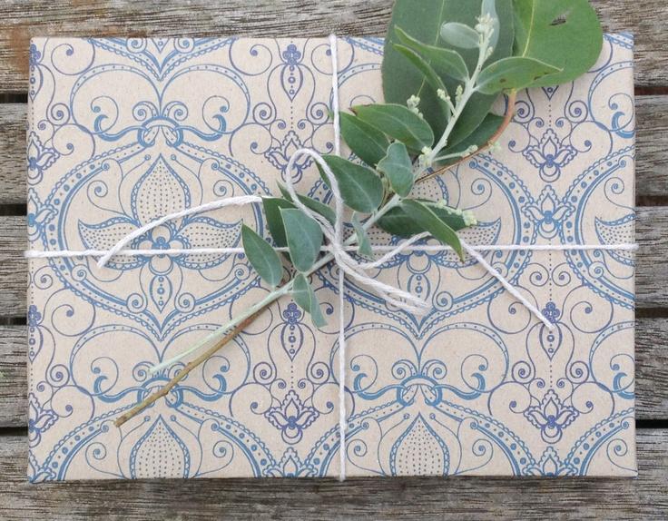 Beautiful Classic wrapping paper by Emma Jennings 'Gaston Blue' printed on 100% recycled Australian paper. www.emmajennings.com.au