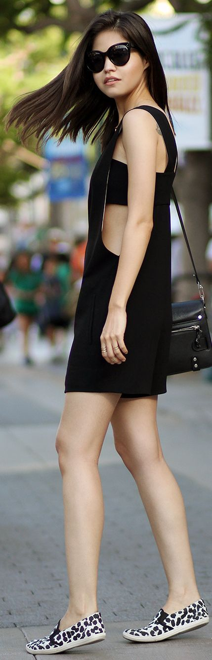 Alexander Wang Black Flirty Loose Deep Cutout Plunge Playsuit by Fake Leather