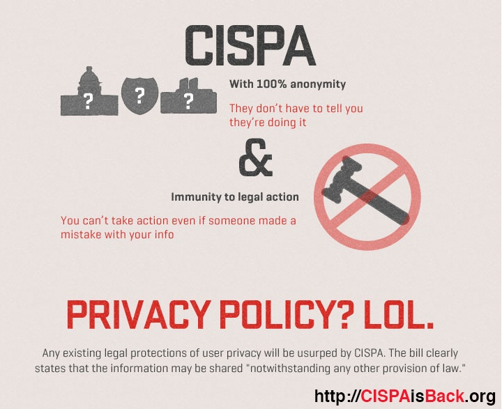 CISPA, a bill that would allow private companies to share citizen's private information and data with the government *without privacy safeguards*, is set to be voted on soon. Demand that citizens' online rights and privacy be protected - help stop CISPA now: https://action.eff.org/o/9042/p/dia/action/public/?action_KEY=9137