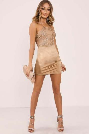 db39bbbdec FLANNA GOLD SEQUIN LEAF BACKLESS BODYCON DRESS