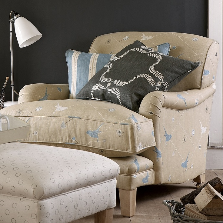 Traditional Armchair with tapered legs in Dawn Chorus Mushroom, Teal and Winter