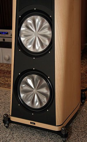 Close-up of CS3.7 woofer and passive radiator.