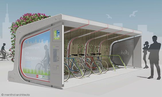 Menthol Architects' Plant-Covered Bicycle Parking Pod also Doubles as a City Furniture