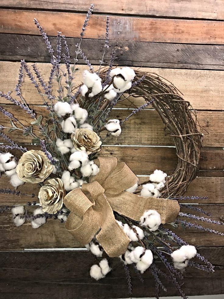 Farmhouse Wreath, Lavender and Cotton Bolls, Rustic Wreath, Everyday Wreath, Decorative Wreath, Cotton Bolls Wreath, Farmhouse Décor, Rustic Décor, Wall Wreath, Interior Farmhouse Wreath, Front Door Wreath