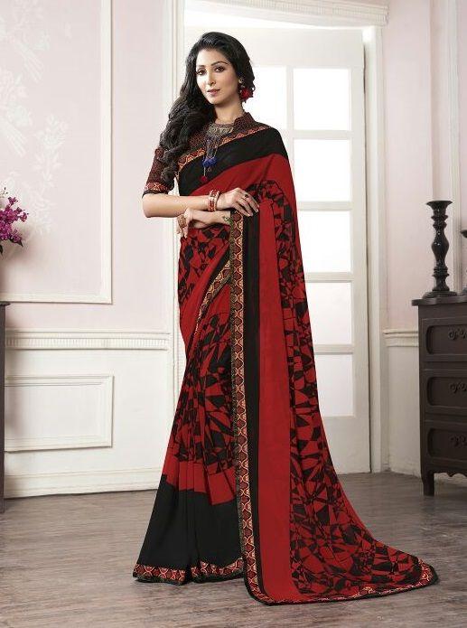 f2209f1e3b9fb4  black  red  georgette  print  saree