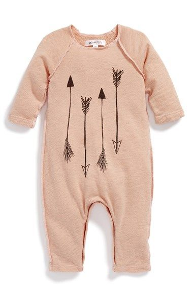 Free shipping and returns on Joah Love Arrow Print Romper (Baby Girls) at http://Nordstrom.com. On-trend arrow graphics and raw hems further the laid-back appeal of a soft, heathered romper.