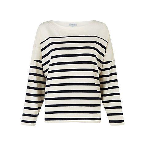 Buy Jigsaw Cotton Rib Stripe Top, Navy Online at johnlewis.com