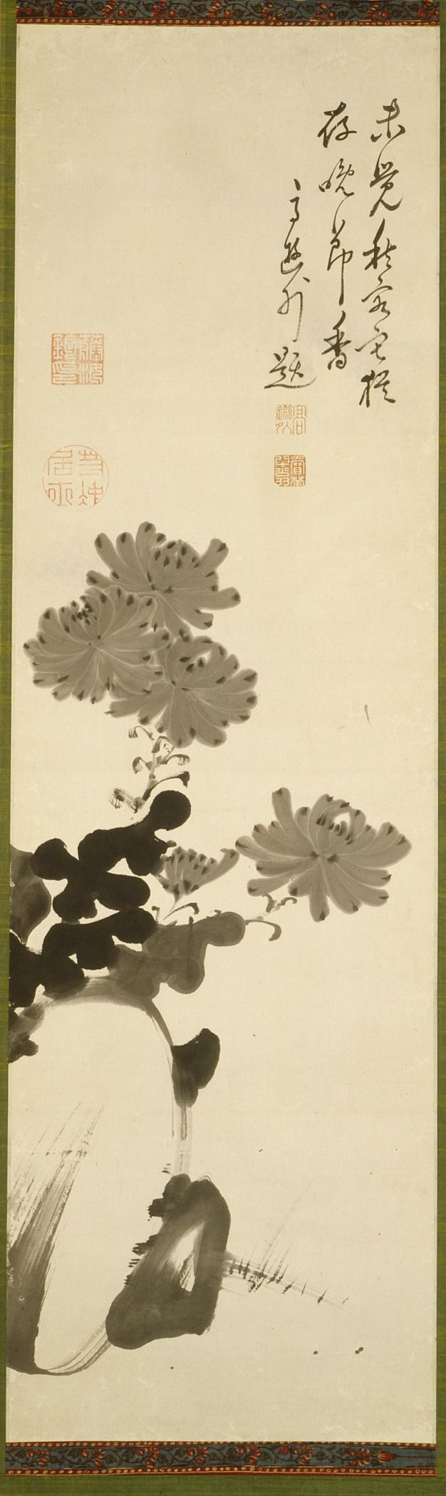 Itō Jakuchū. Chrysanthemums and Rock. Japan, late 18th century. Hanging scroll; ink on paper. LACMA