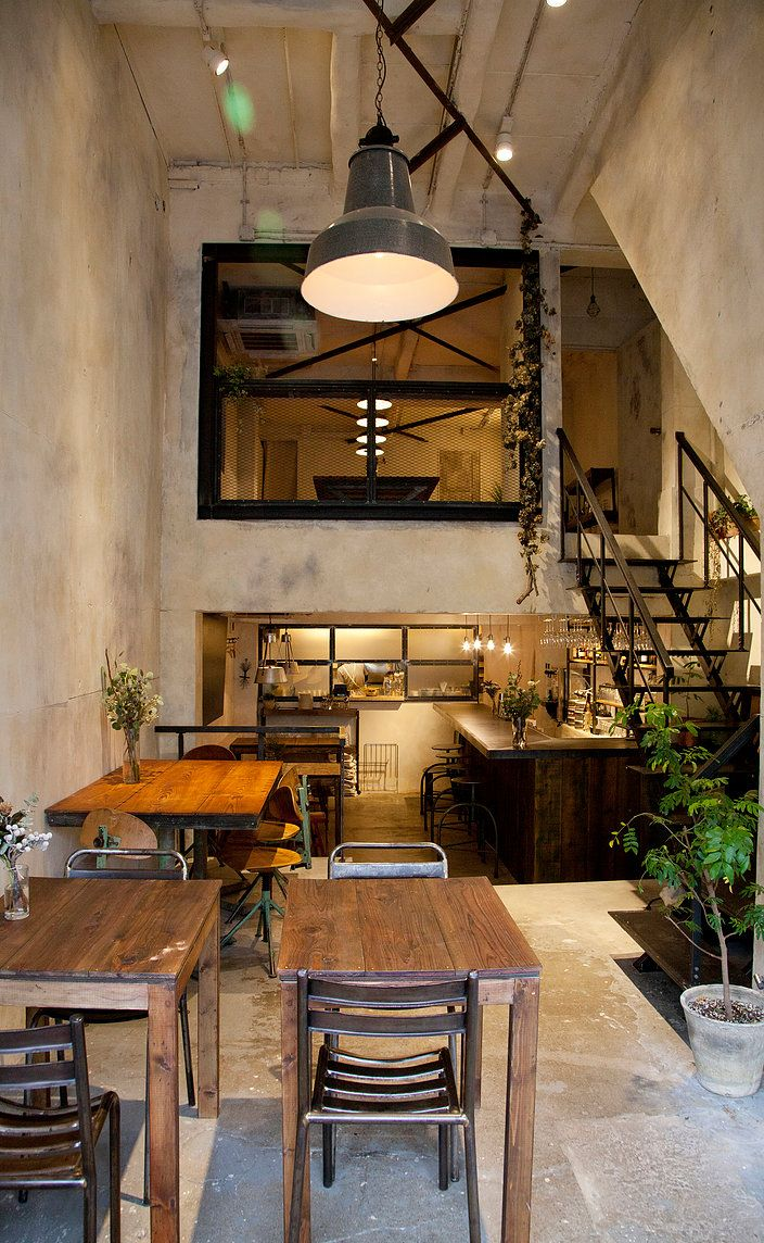 This looks like a small cafe, but lay out would also work for a studio, or copied for a tiny house.