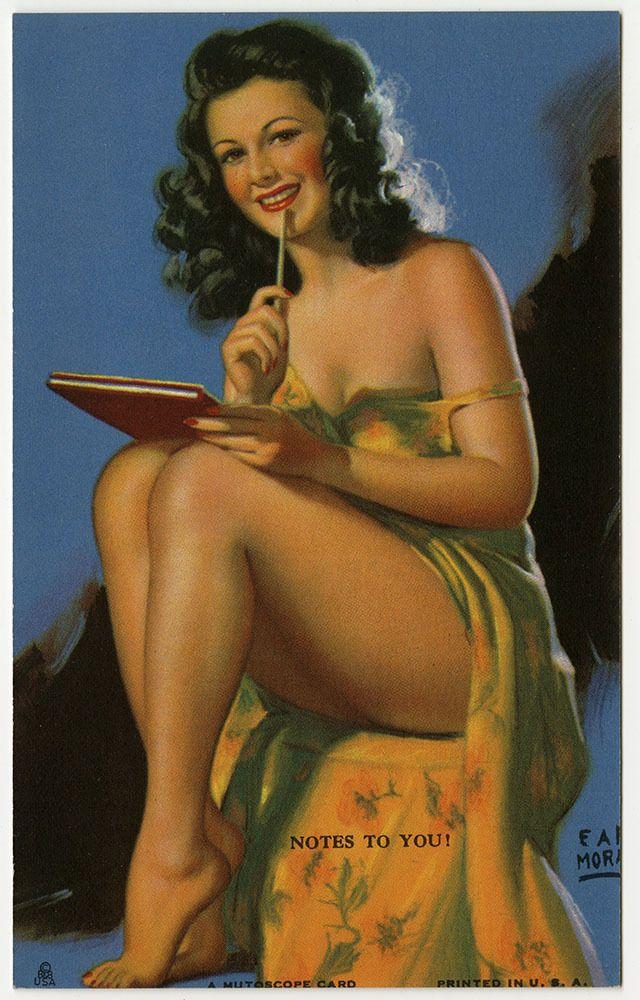 Earl Moran 1940s Art Deco Mutoscope Card Leggy Pin-Up Risque Notes To You Fine #MutoscopeCard