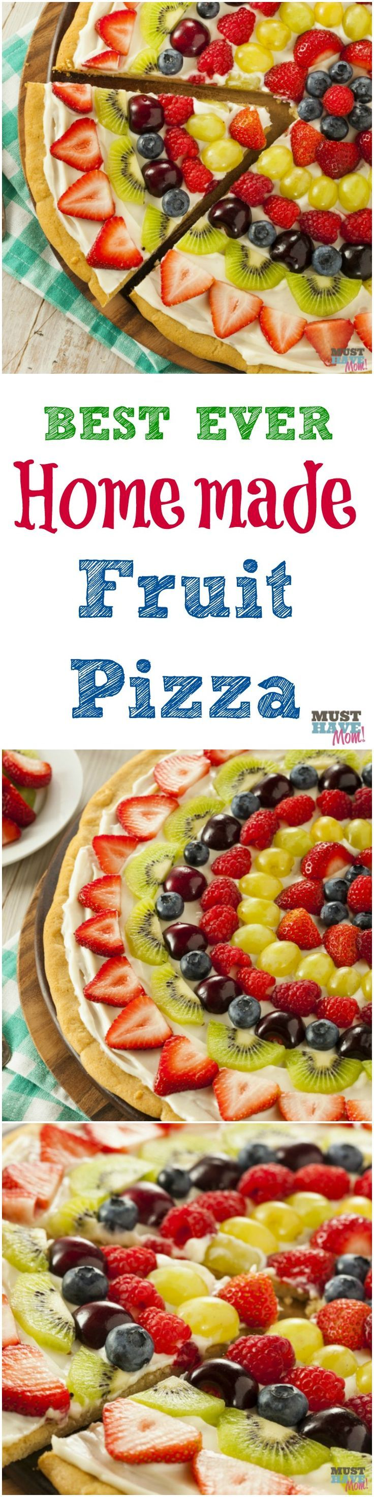 Best Ever Homemade Fruit Pizza Recipe. Make fruit pizza from scratch with this super easy recipe that tastes amazing and so much better than store bought sugar cookie dough! I can't believe how good t