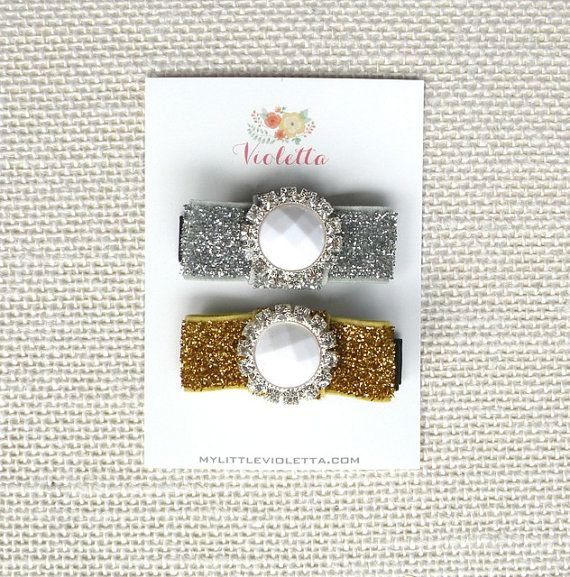 Set of 2 Glitter Bow Clips Silver & Gold   by MyLittleVioletta