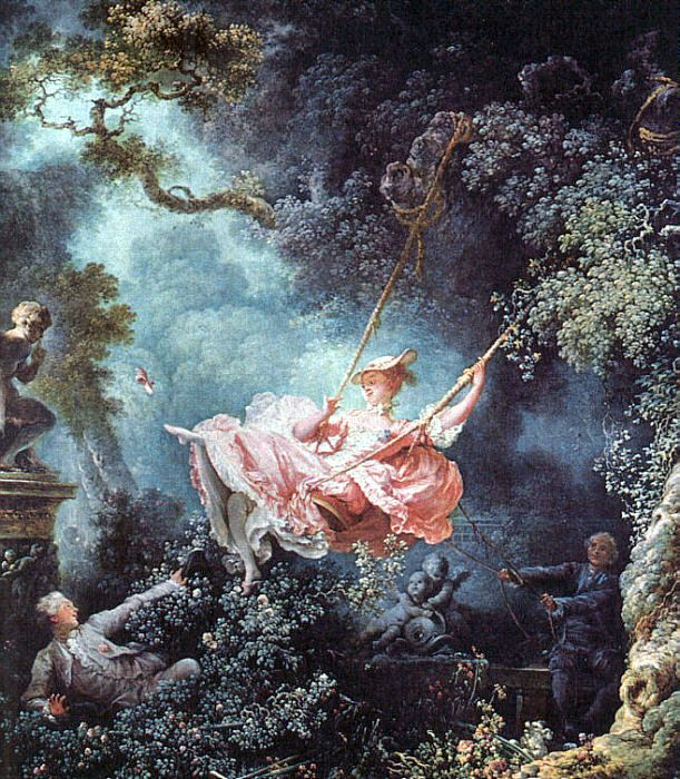 The man had requested a portrait of his mistress seated on a swing being pushed by a bishop, but Fragonard painted a layman. Description from quizlet.com. I searched for this on bing.com/images
