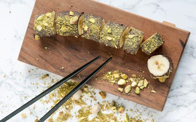 banaan sushi chocolade recept