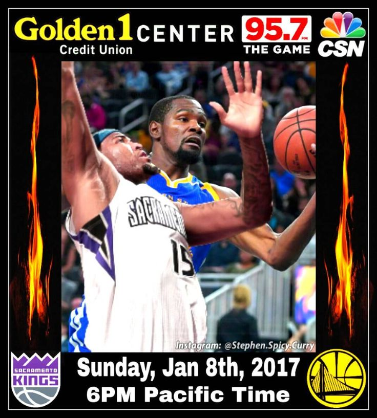 KD and the Dubs take on Demarcus Cousins  and the Kings in Sacramento later tonight. It'll be the first game the Warriors play in the Kings' new arena Golden 1 Center. Game time's 6PM Pacific Time (Jan 8th). Watch on CSN Bay Area and listen on 95.7 The Game.