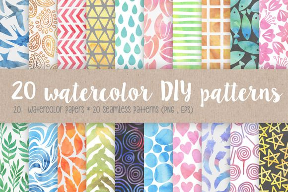 20 watercolor DIY patterns by Kelly Reed on Creative Market
