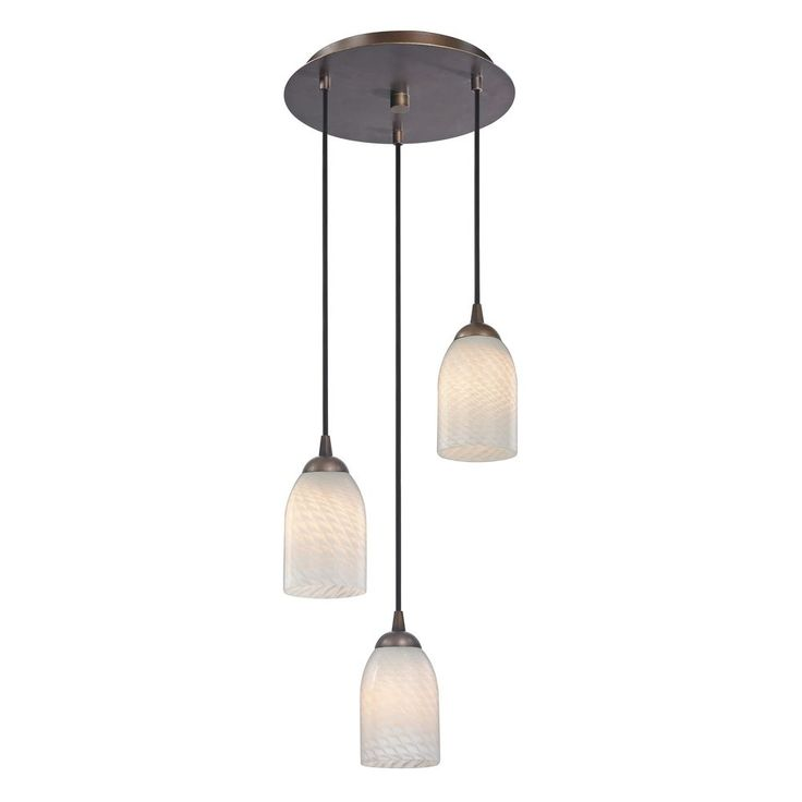 Modern multi light pendant light with white glass and 3 lights