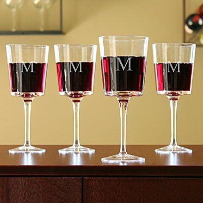 Monogrammed Contemporary Wine Glasses (Set of 4)