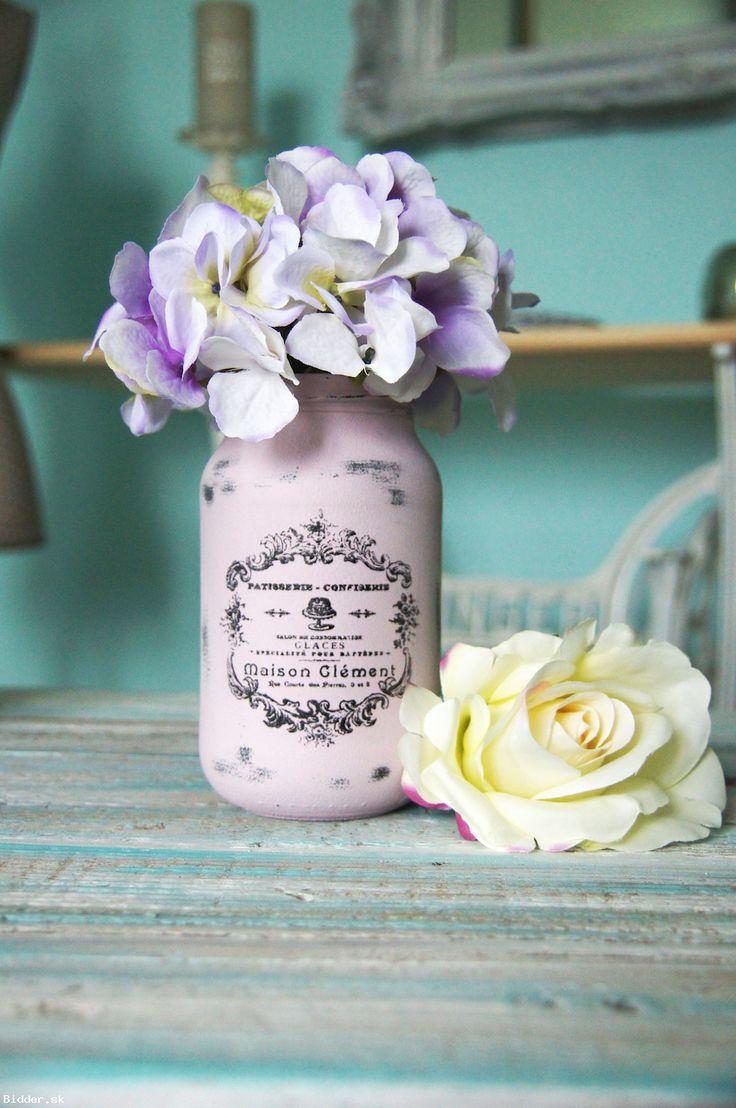 Ružová Vintage sklenená dekorácia, váza