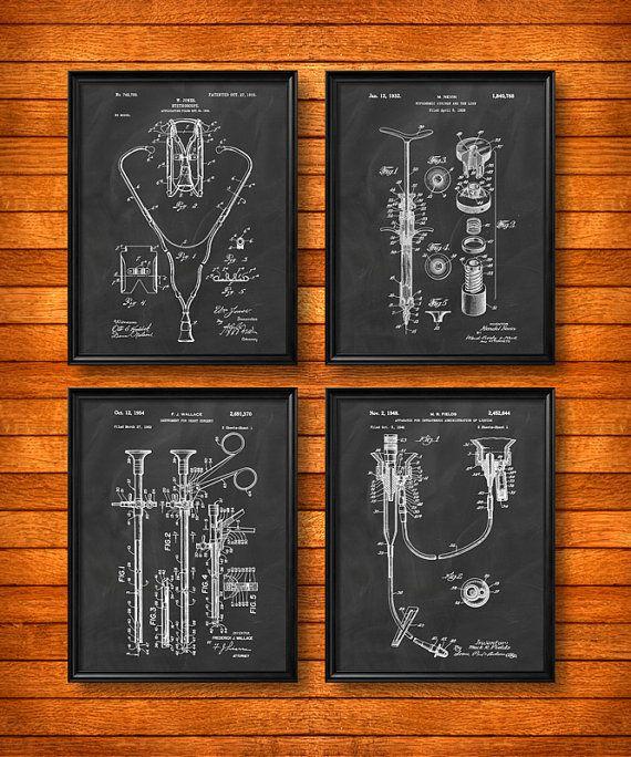 ENSEMBLE de 4 affiches médicales Vintage brevet par UltraPrint