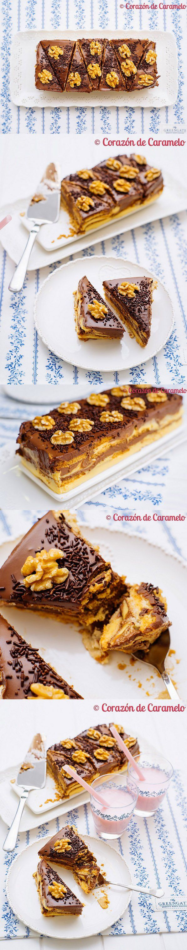 tarta, sin horno, chocolate, galletas, natillas, pastel, receta