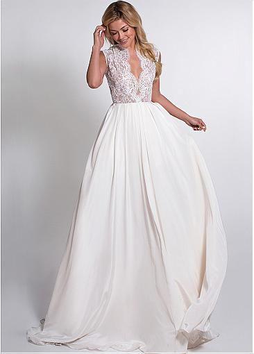 romantic taffeta deep v neck neckline a line wedding dresses with lace appliques