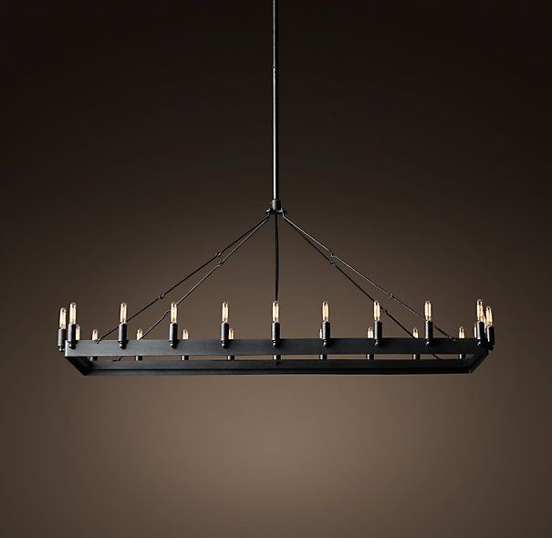 Camino Rectangular Chandelier 52quot Forged Iron finish  : d0061a3c9c4cdbc77cbae89e424724b2 rectangular chandelier dining room lighting from www.pinterest.com size 605 x 590 jpeg 22kB