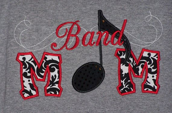 Band Mom Shirt with Music Note by trendyembroidery on Etsy, $22.00