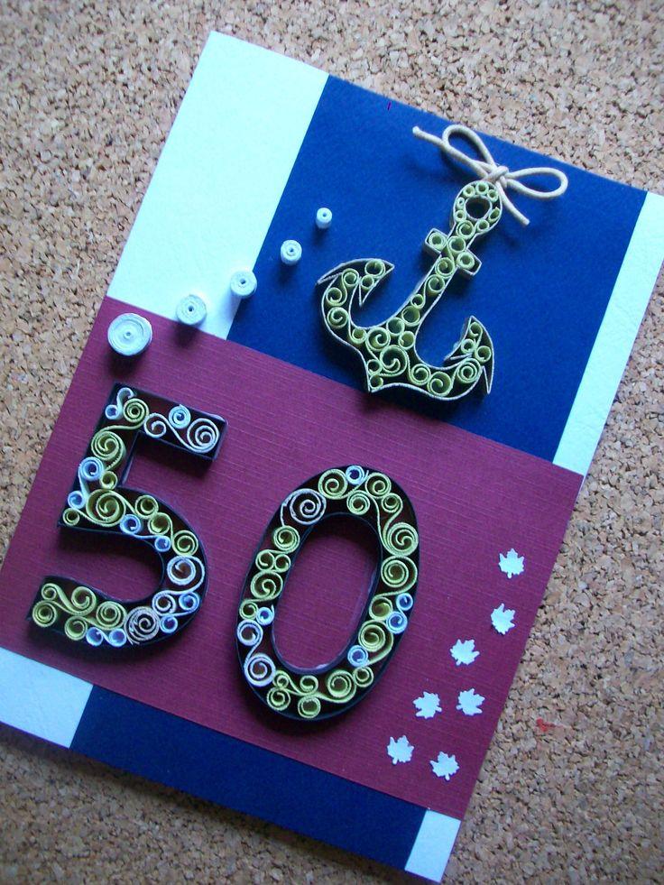 Birthday 50Anniversary Quilling card,Birthday card for Him, Greeting card,Quilled Birthday card, Personalized 50th Birthday card de HandmadeTedy en Etsy