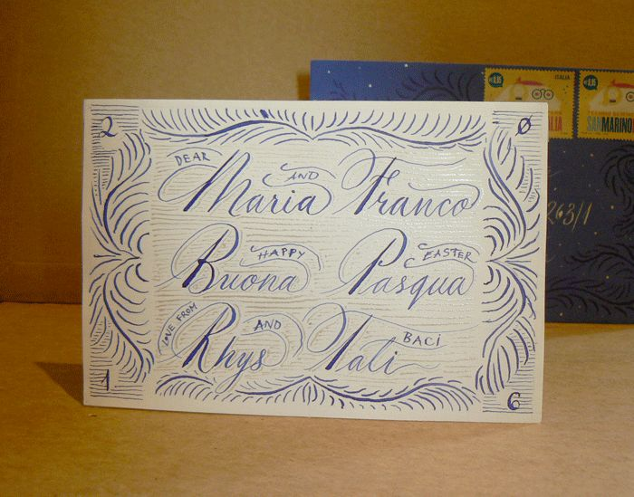 Buona Pasqua - Happy Easter 2016 GIF #Calligraphy #Envelope